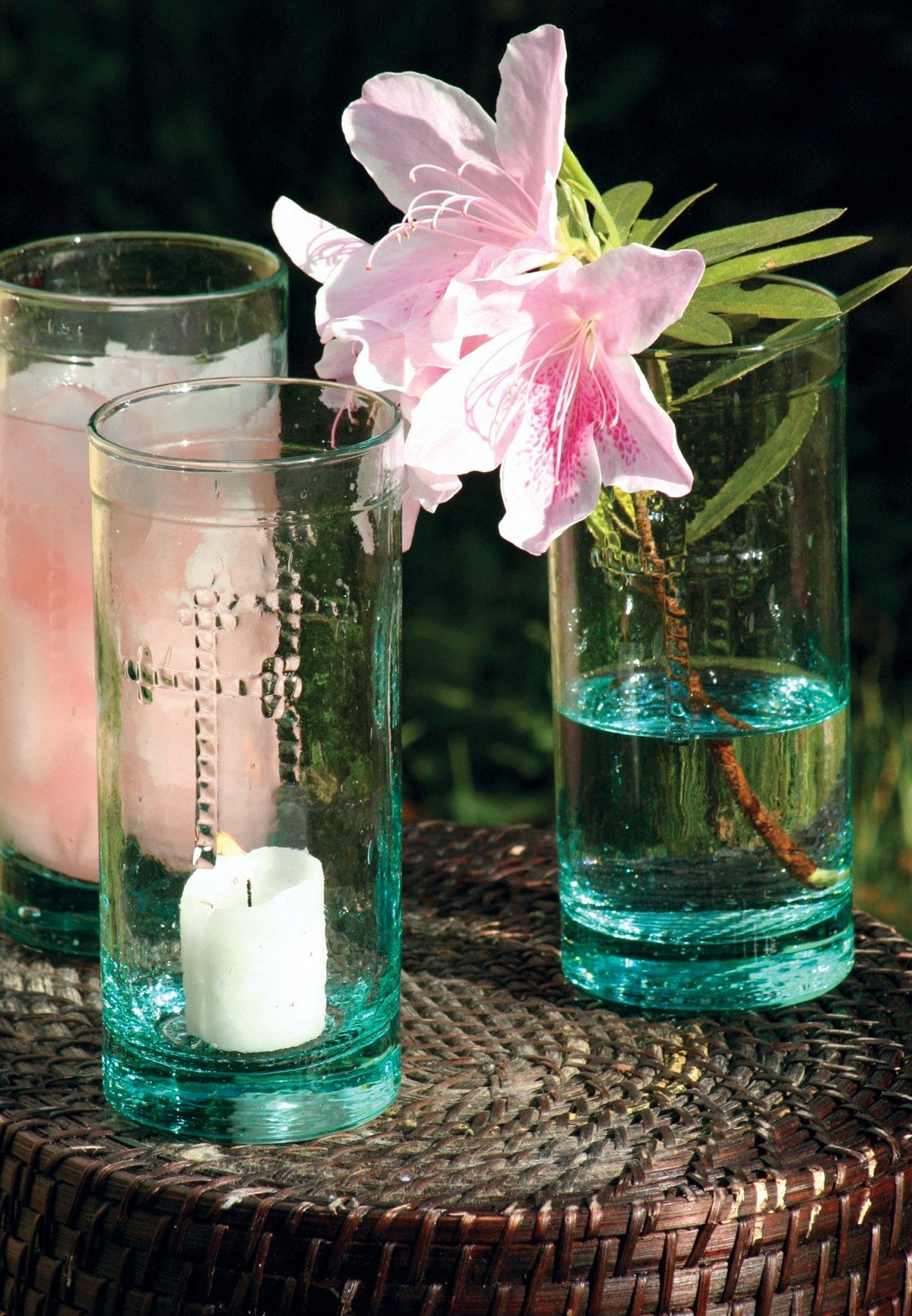 Kalalou Rustic Glass Candleholder Vase Or Drinkware With Cross Detail