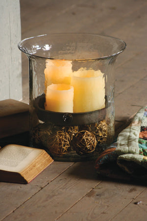 Kalalou Giant Glass Candle Cylinder With Metal Insert