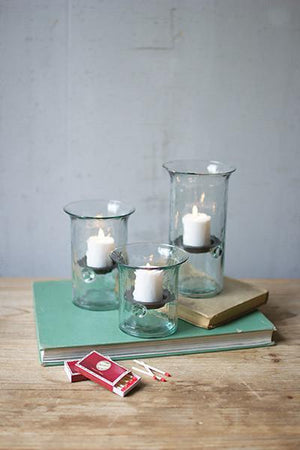 Kalalou Set of Three Recycled Glass Votive Cylinders