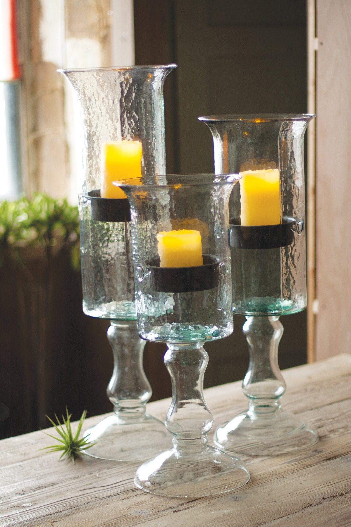 Kalalou Glass Candle Cylinder With Metal Insert And Glass Base