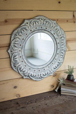 Kalalou Pressed Metal Flower Wall Mirror