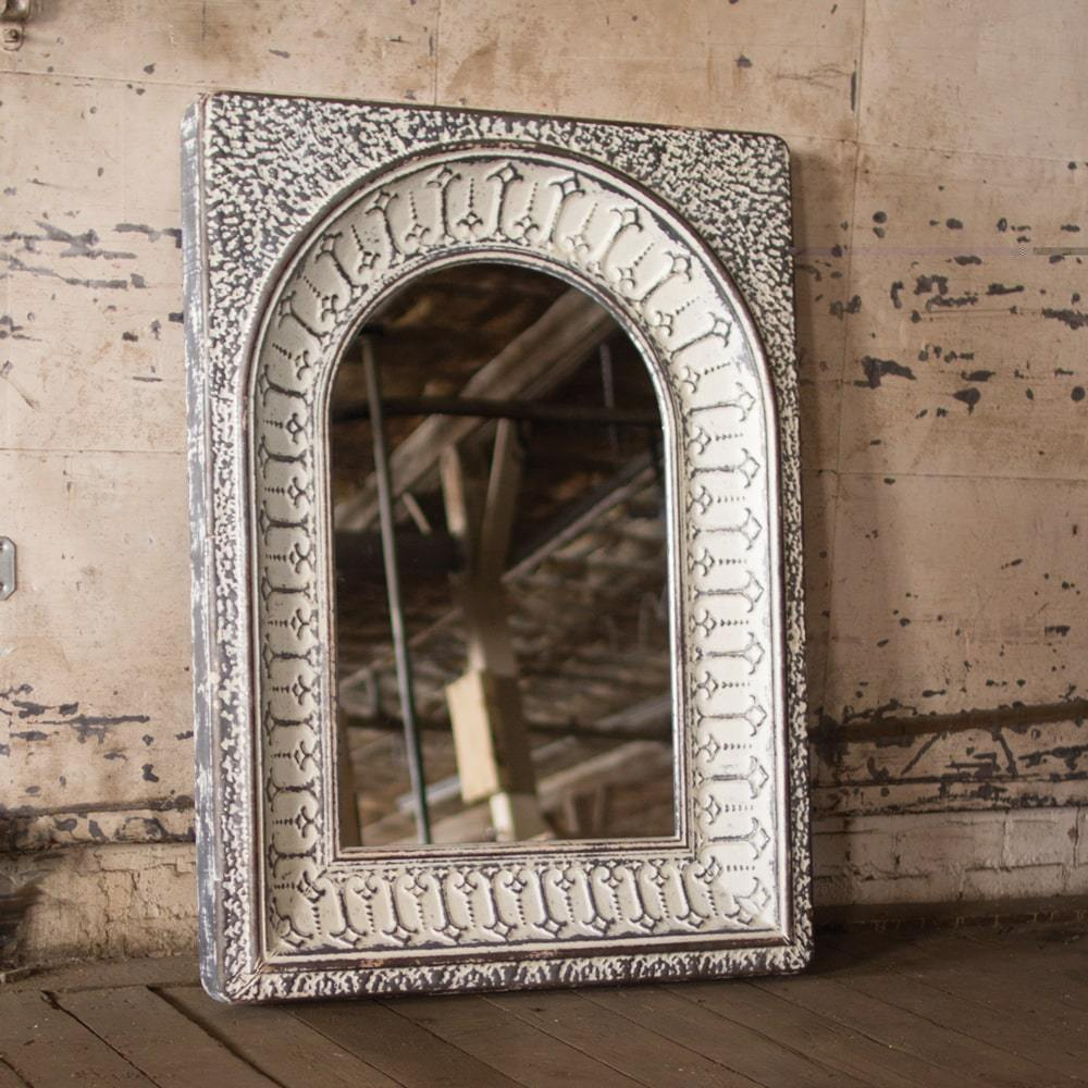 Kalalou Pressed Metal Arched Wall Mirror