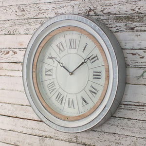 Kalalou Enamelware Clock With Wood Detail