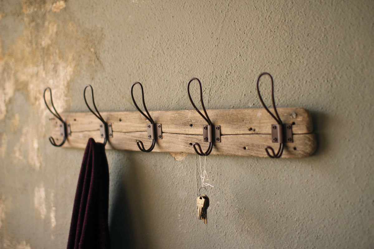 Kalalou Recycled Wooden Coat Rack With Rustic Hooks - Set Of 2