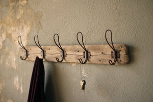 Kalalou Recycled Wooden Coat Rack With Rustic Hooks