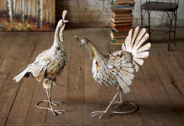 Kalalou Antiqued Distressed White Metal Turkeys - Set Of 2