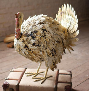 Kalalou Antique White Painted Metal Turkey