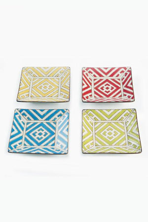 Vagabond Vintage Handpainted Moroccan Square Plates - Set of 4