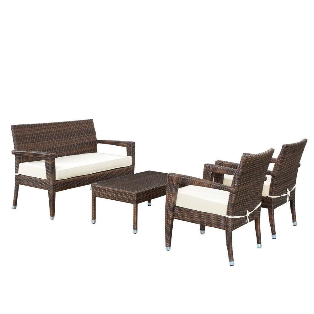Modway Stride 4 Piece Outdoor Patio Sofa Set - Brown White