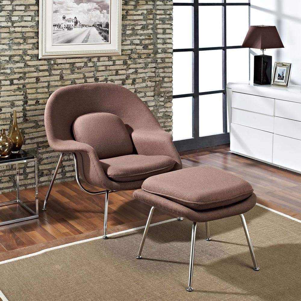 Modway W Upholstered Fabric Lounge Chair With Ottoman Upholstered Fabric Lounge Chair - Brown