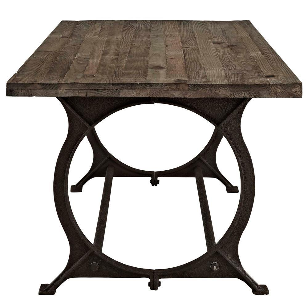 Modway Effuse Rectangle Wood Top Dining Table - Brown