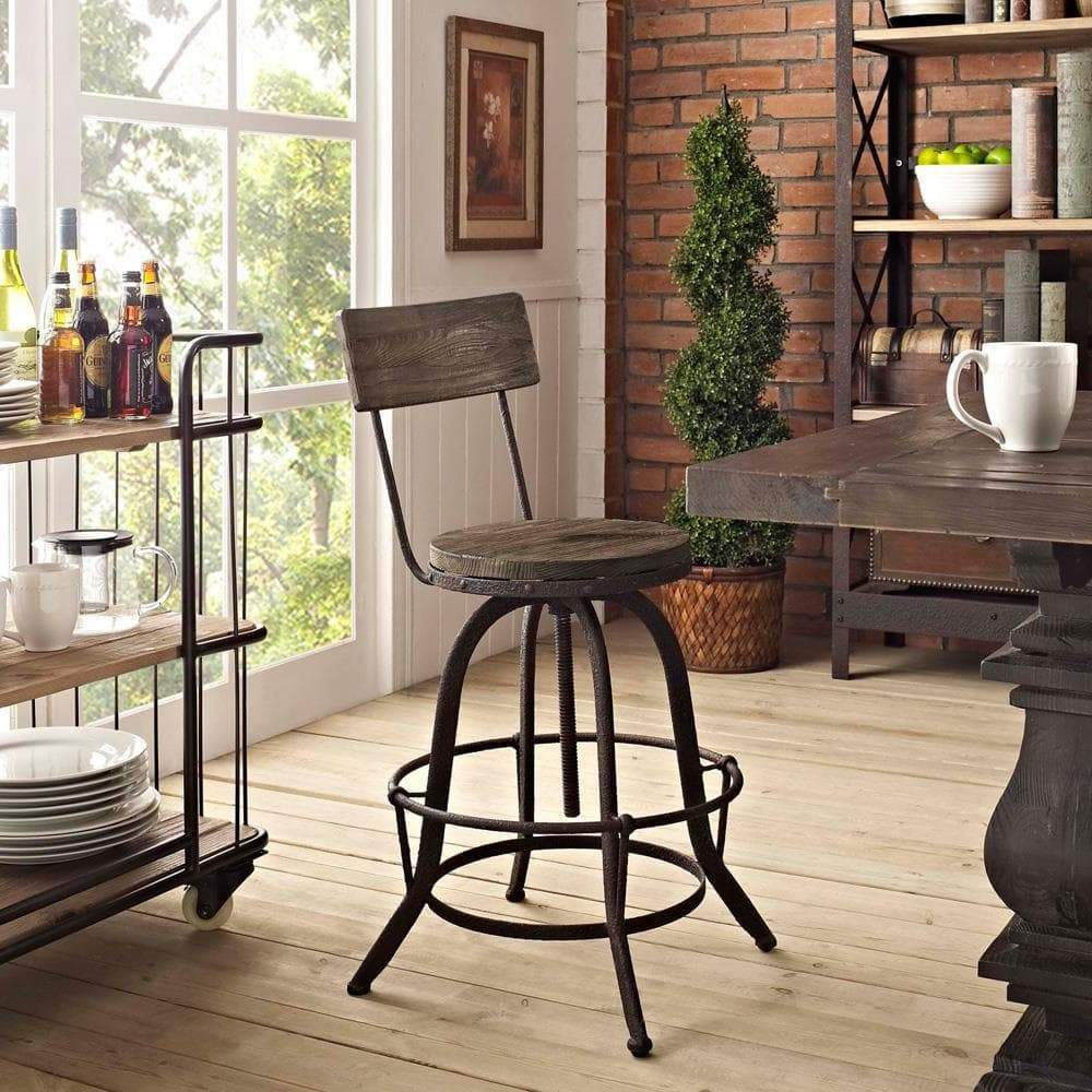 Modway Procure Wood Bar Stool - Brown