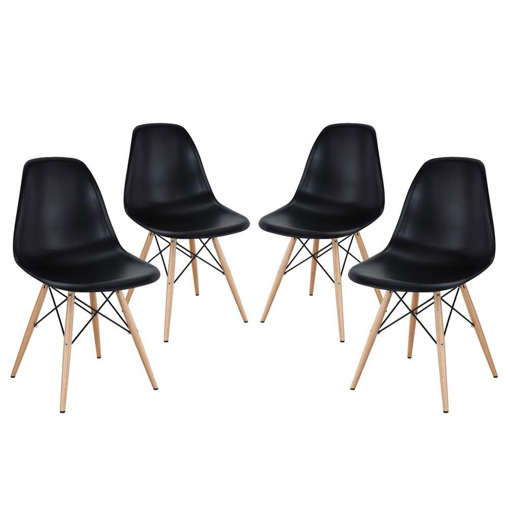Modway Pyramid Dining Side Chairs Set of 4 - Black