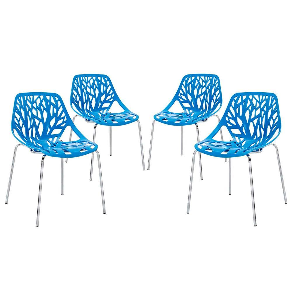 Modway Stencil Dining Side Chair Set of 4 - Blue