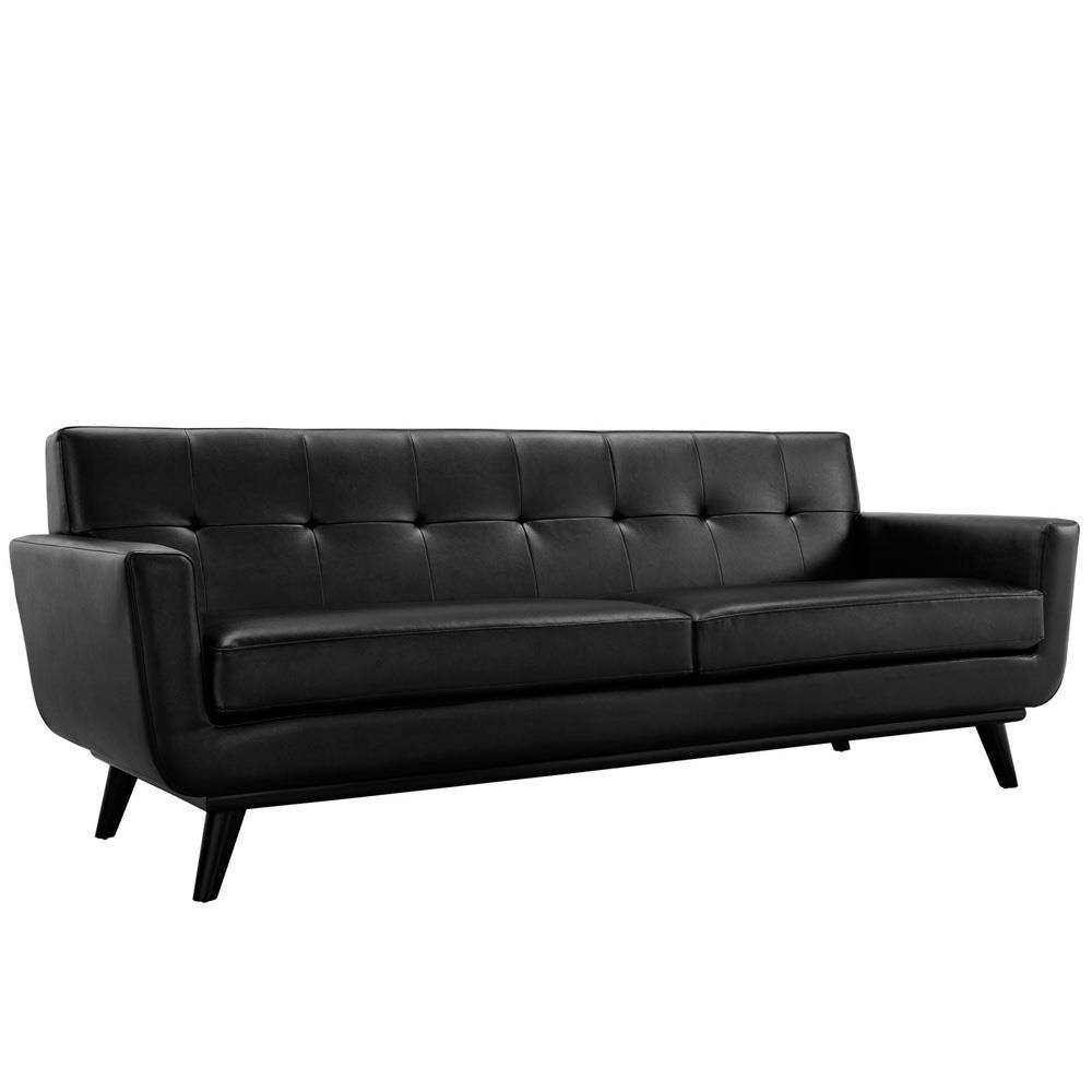 Modway Engage Bonded Leather Sofa - Black