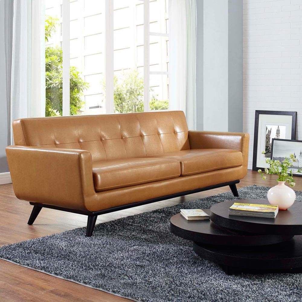 Modway Engage Bonded Leather Sofa - Tan