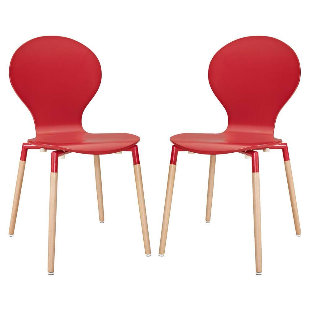 Modway Path Dining Chair Set of 2 - Red