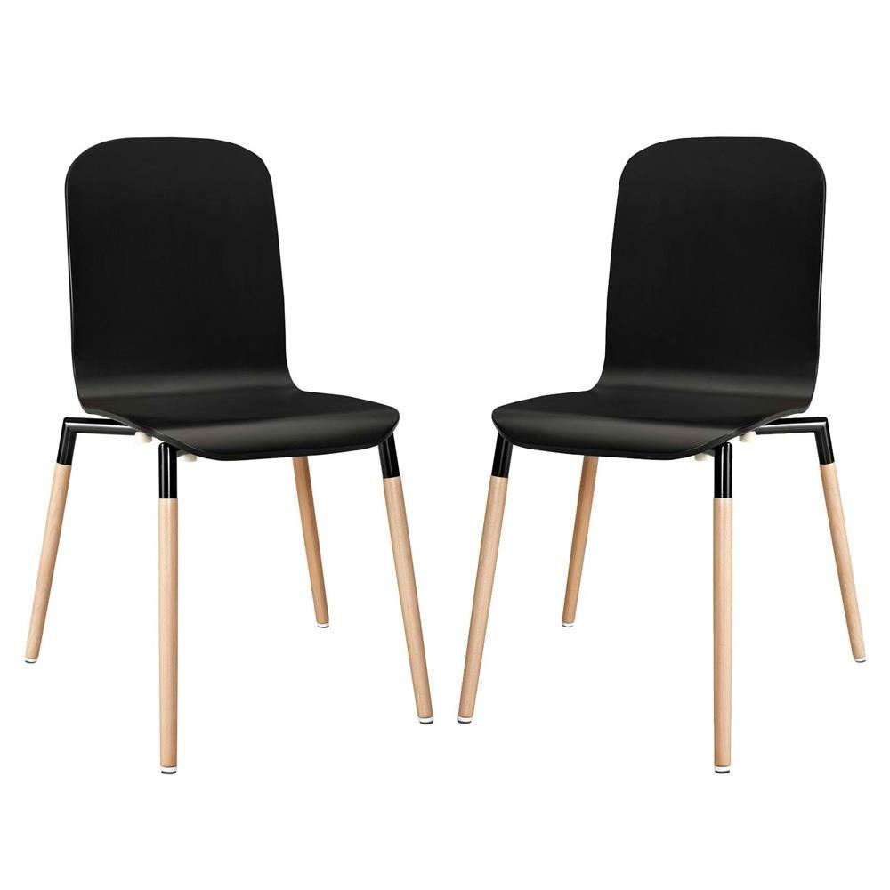 Modway Stack Dining Chairs Wood Set of 2 - Black