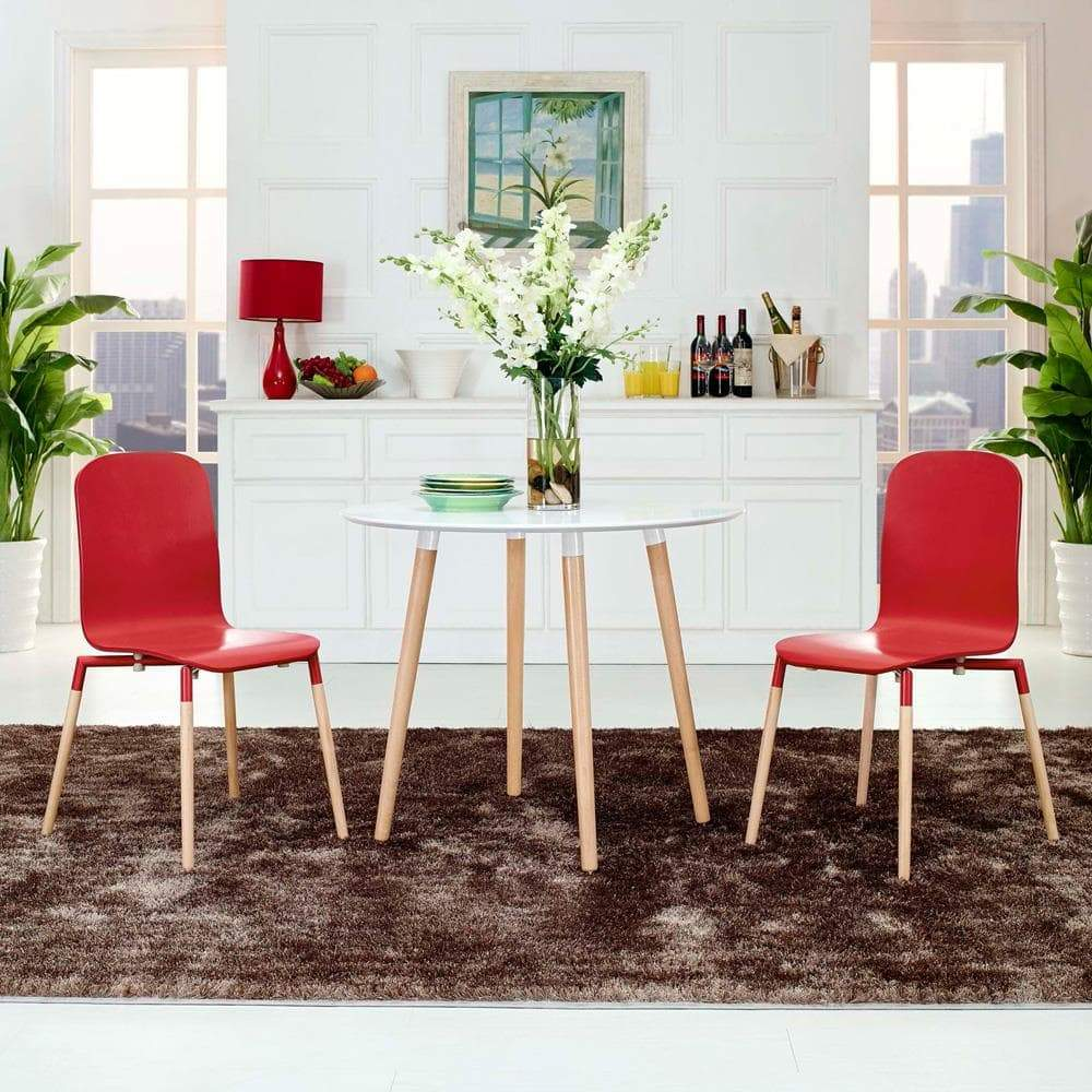 Modway Stack Dining Chairs Wood Set of 2 - Red