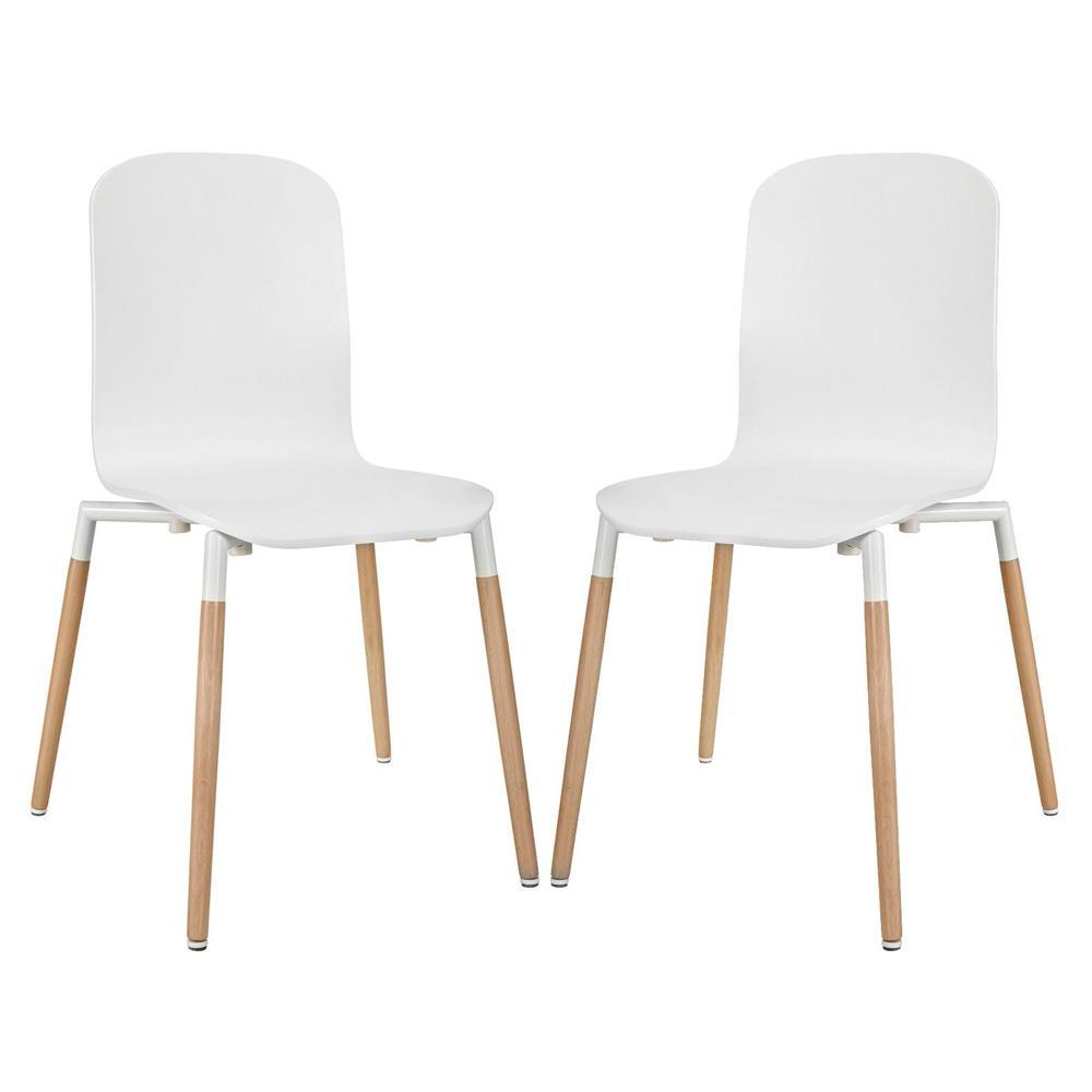 Modway Stack Dining Chairs Wood Set of 2 - White