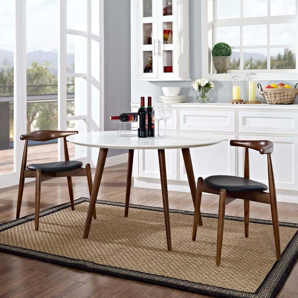 Modway Stalwart Dining Side Chairs Set of 2 - Dark Walnut Black