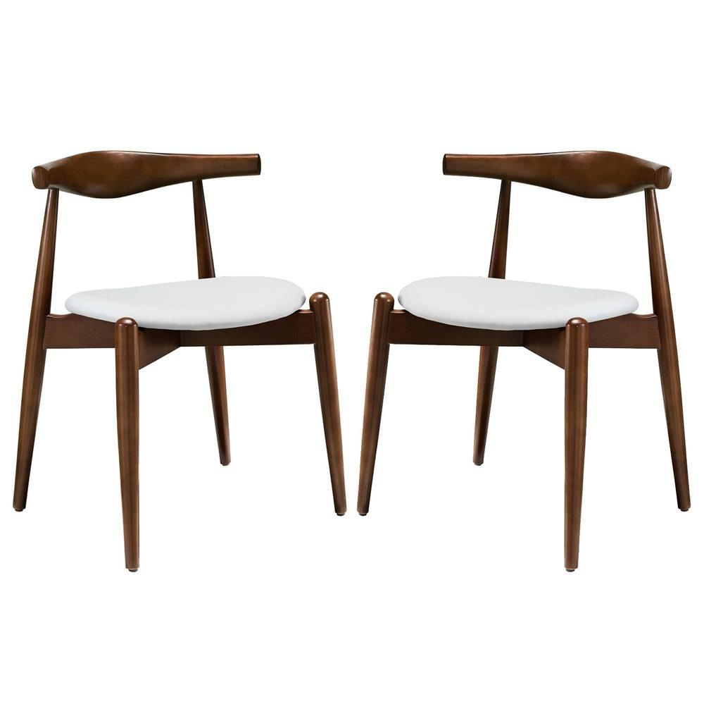 Modway Stalwart Dining Side Chairs Set of 2 - Dark Walnut White
