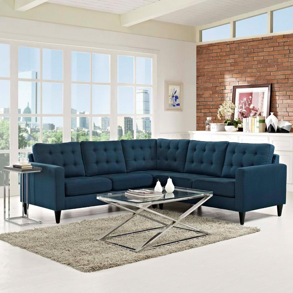 Modway Empress 3 Piece Upholstered Fabric Sectional Sofa Set - Azure