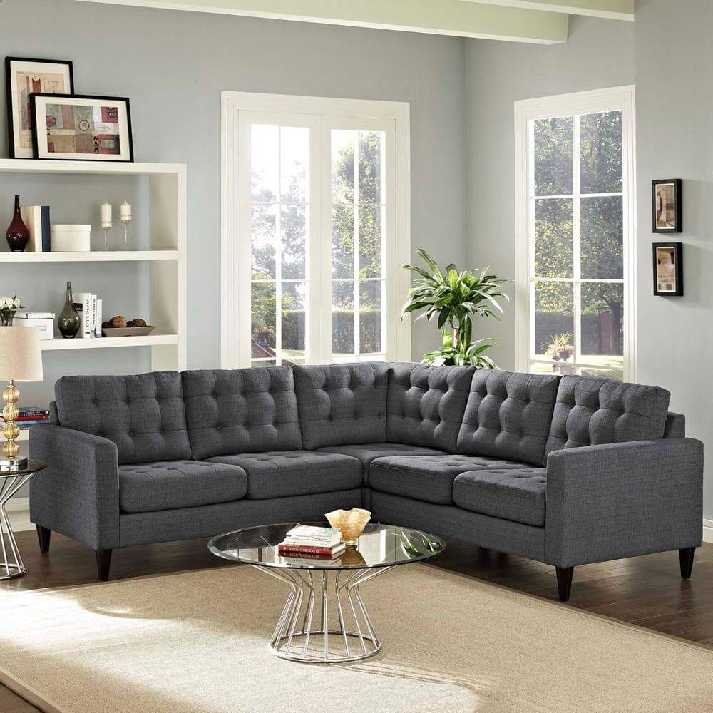 Modway Empress 3 Piece Upholstered Fabric Sectional Sofa Set - Gray
