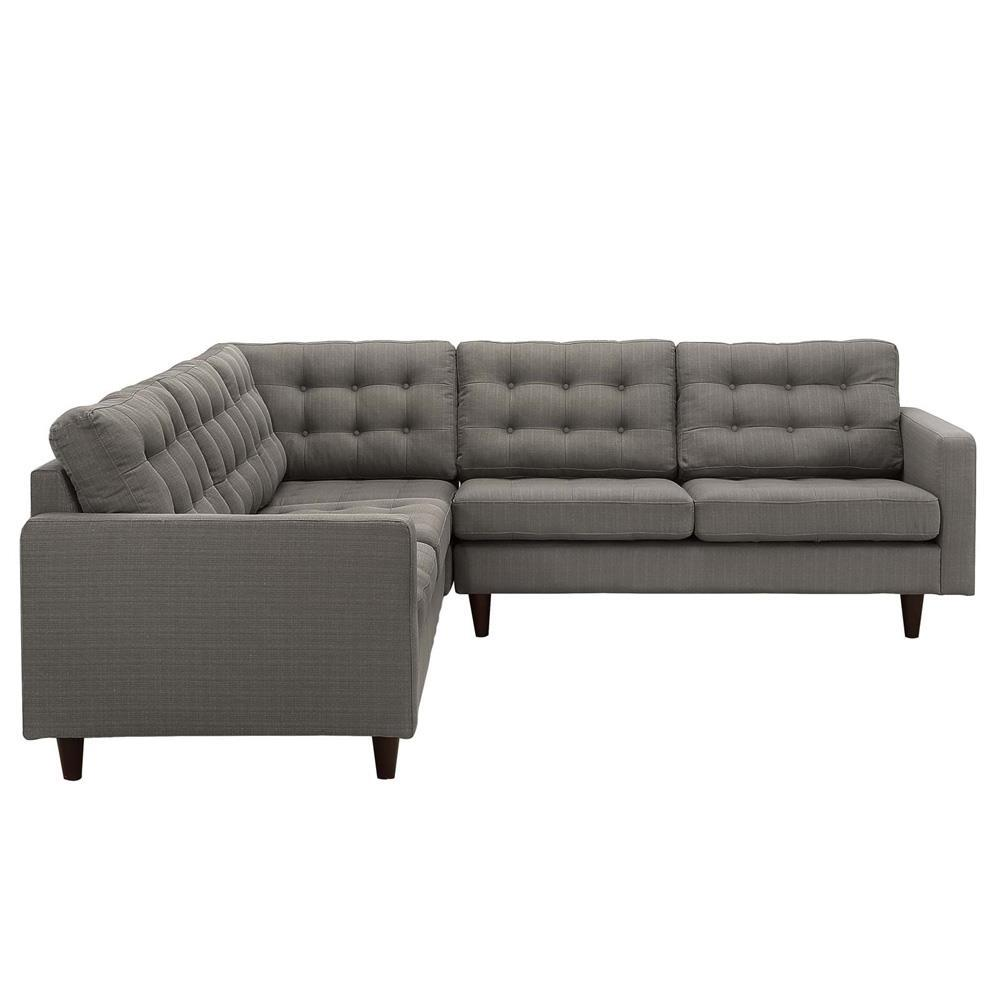 Modway Empress 3 Piece Upholstered Fabric Sectional Sofa Set - Granite