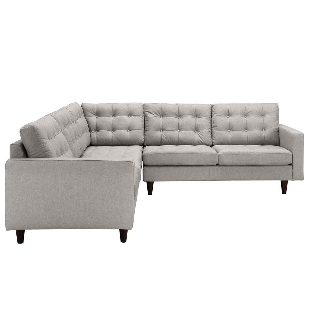 Modway Empress 3 Piece Upholstered Fabric Sectional Sofa Set - Light Gray
