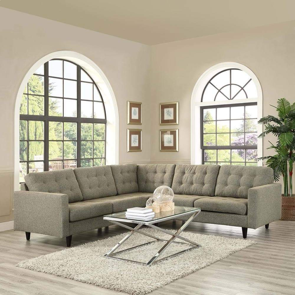 Modway Empress 3 Piece Upholstered Fabric Sectional Sofa Set - Oatmeal
