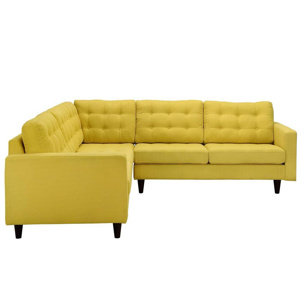 Modway Empress 3 Piece Upholstered Fabric Sectional Sofa Set - Sunny