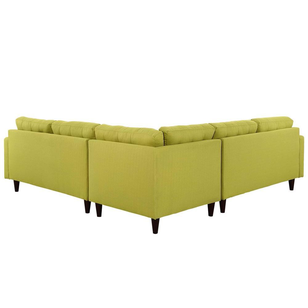 Modway Empress 3 Piece Upholstered Fabric Sectional Sofa Set - Wheatgrass