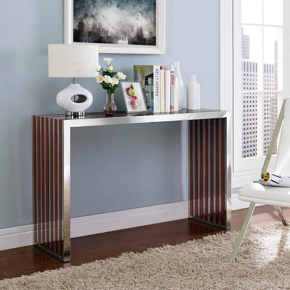 Modway Gridiron Wood Inlay Console Table - Walnut