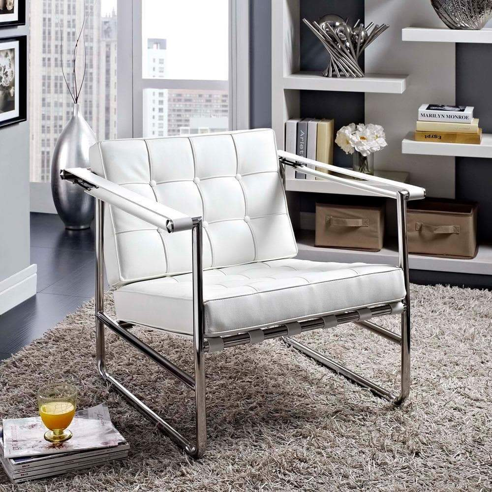 Modway Serene Stainless Steel Upholstered Vinyl Lounge Chair - White