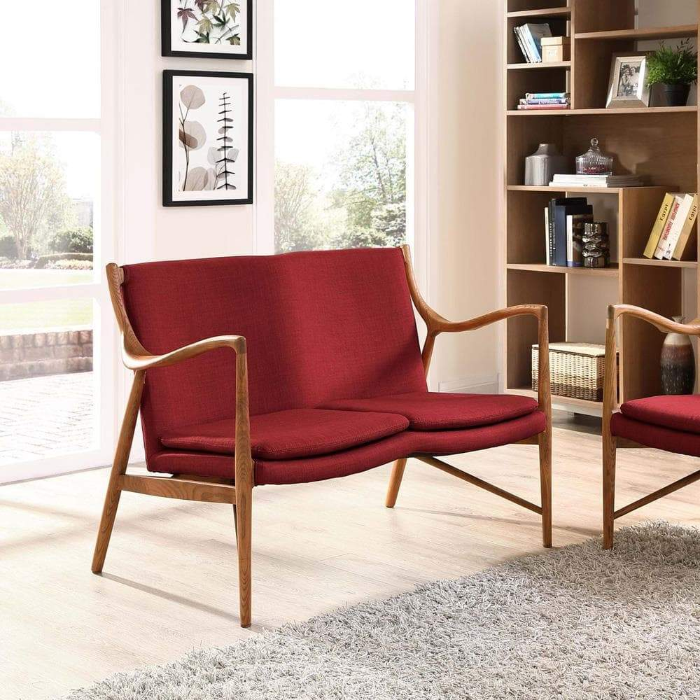 Modway Makeshift Upholstered Loveseat - Maple Red