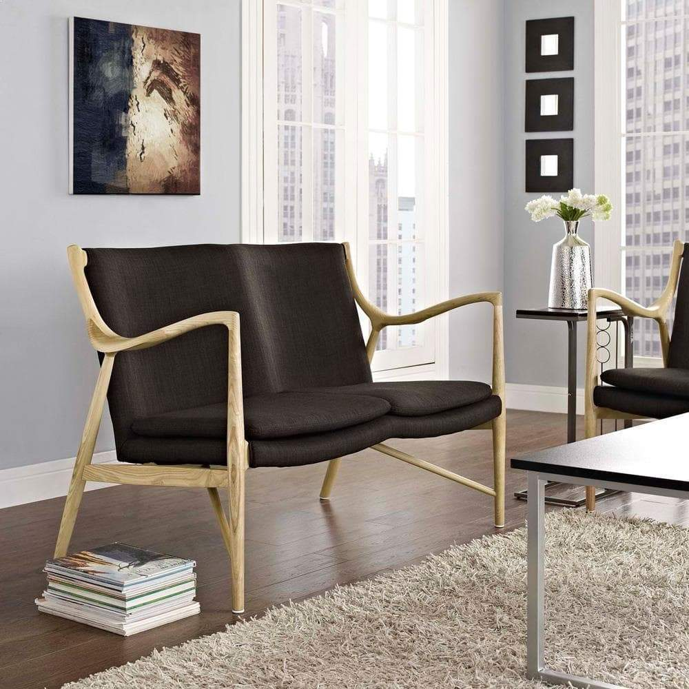 Modway Makeshift Upholstered Loveseat - Natural Brown