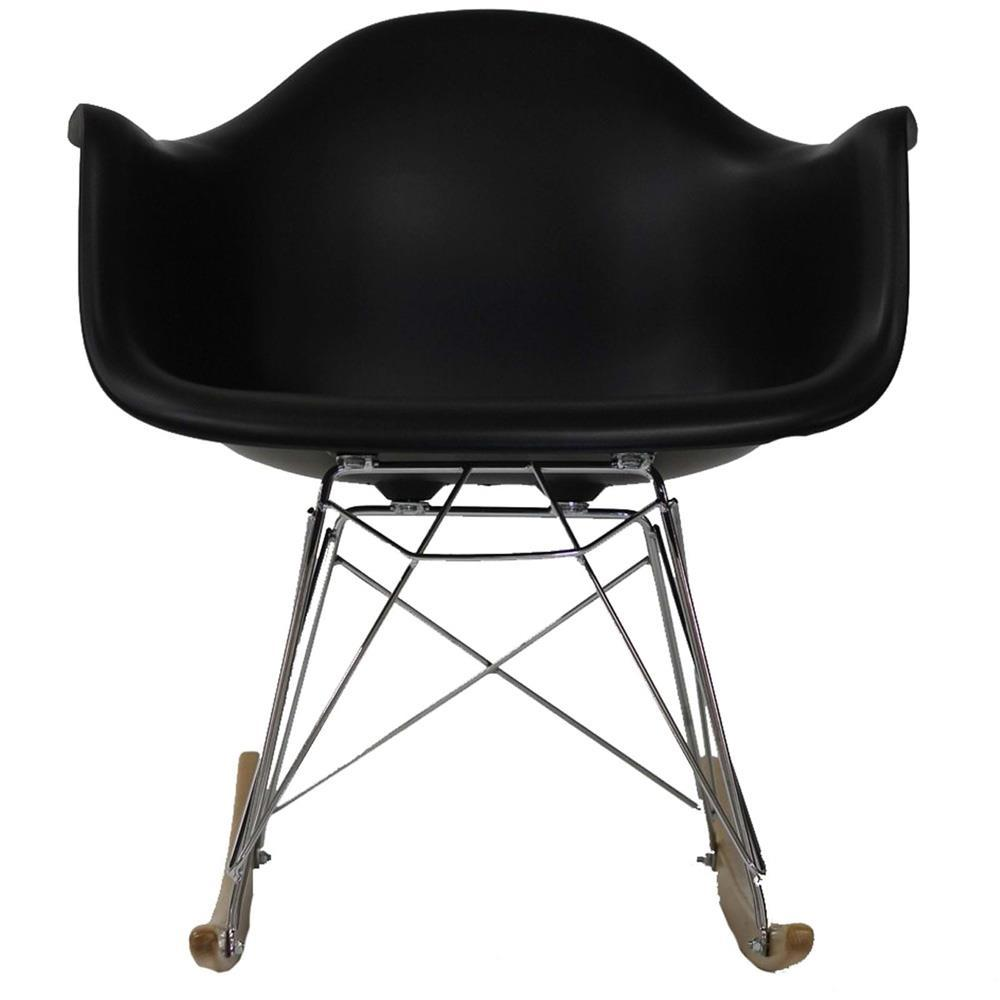 Modway Rocker PP Plastic Lounge Chair - Black
