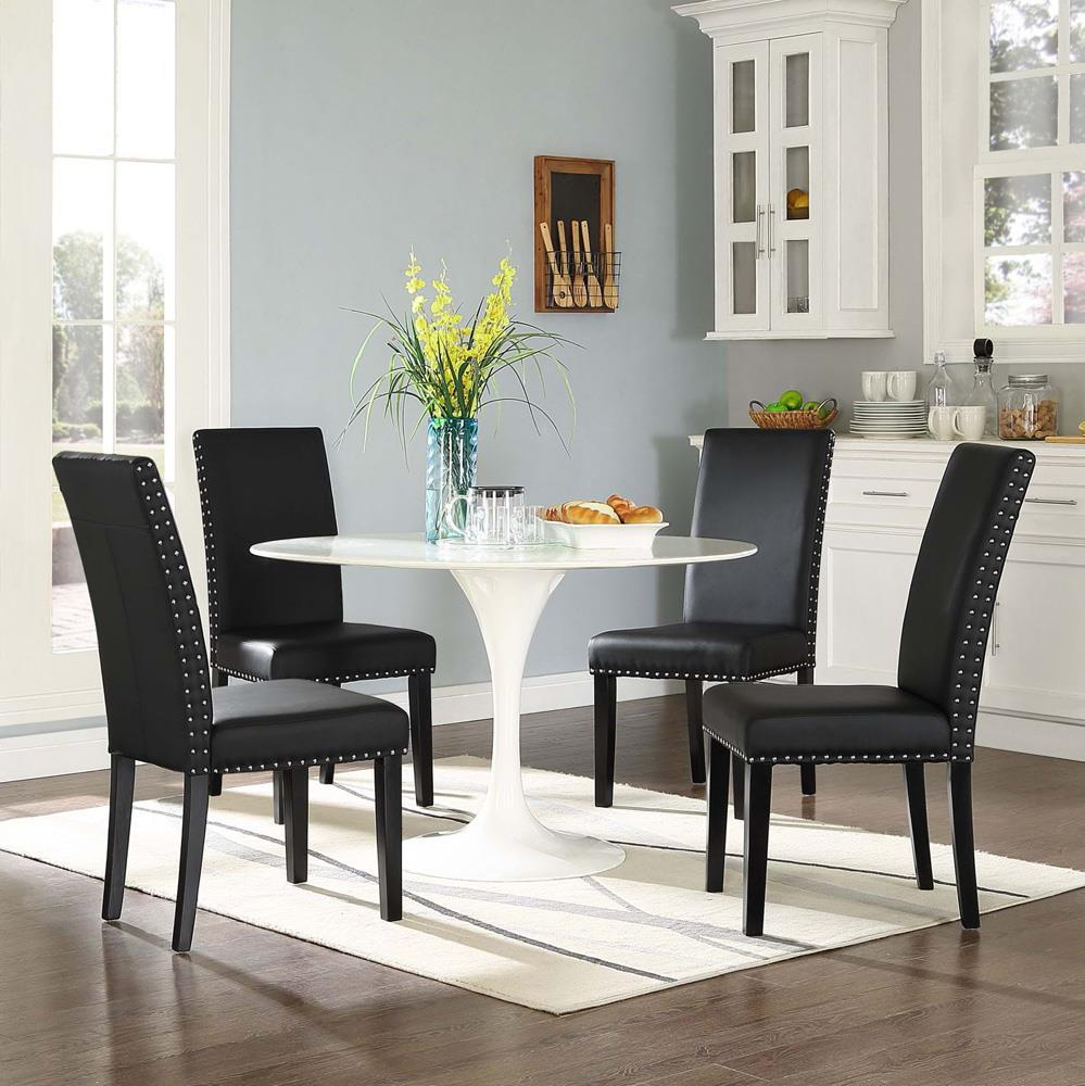 Modway Parcel Dining Vinyl Side Chair - Black