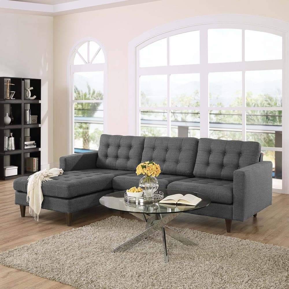 Modway Empress Left-Facing Upholstered Sectional Sofa - Gray