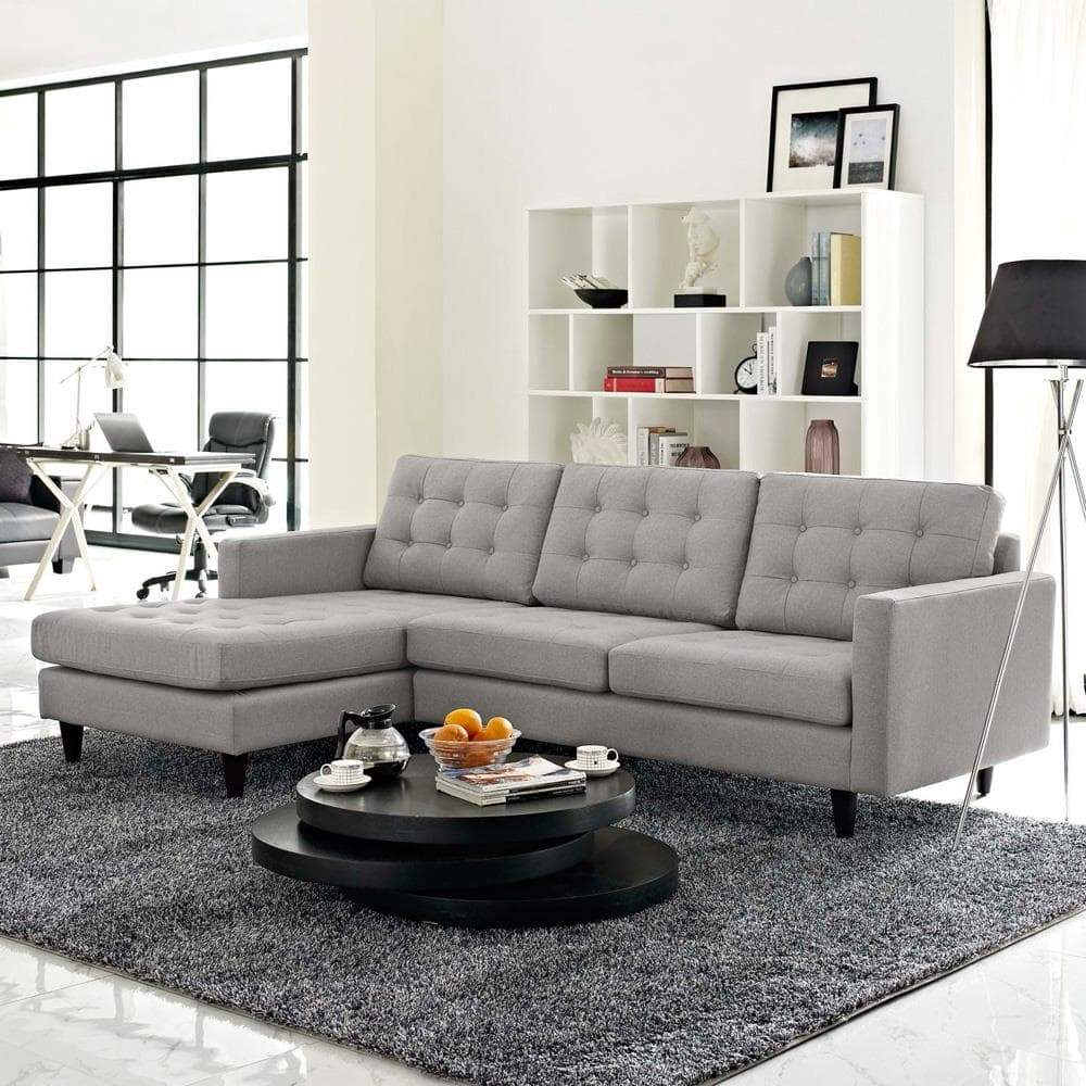 Modway Empress Left-Facing Upholstered Sectional Sofa - Light Gray