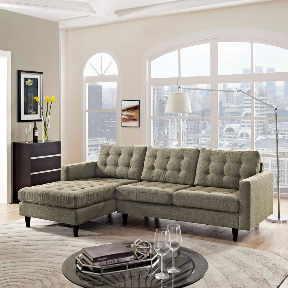 Modway Empress Left-Facing Upholstered Sectional Sofa - Oatmeal