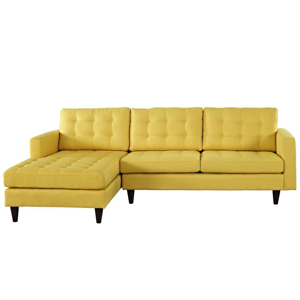 Modway Empress Left-Facing Upholstered Sectional Sofa - Sunny