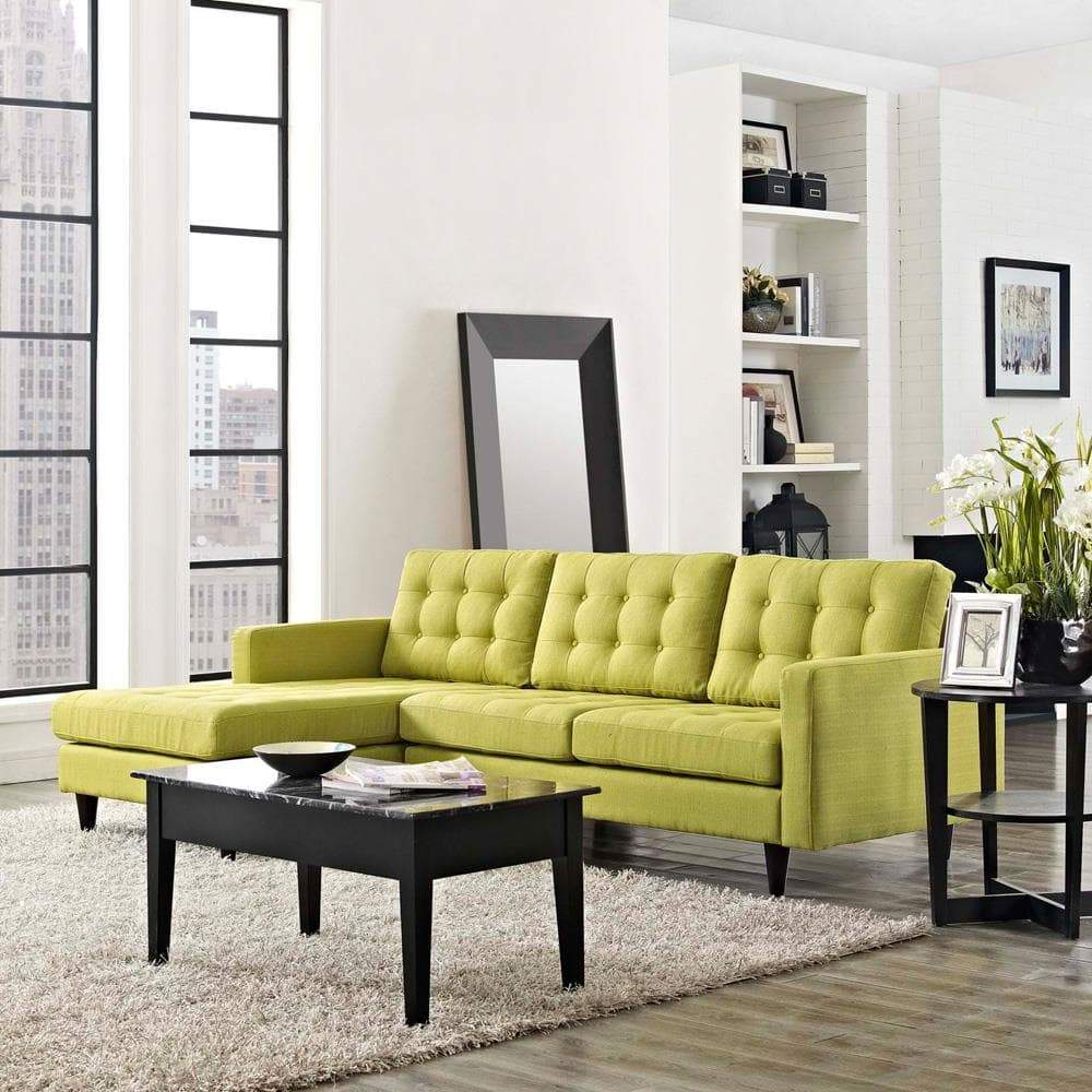 Modway Empress Left-Facing Upholstered Sectional Sofa - Wheatgrass