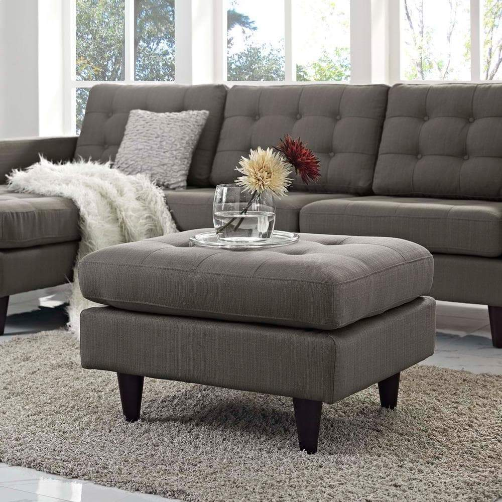 Modway Empress Upholstered Ottoman - Granite