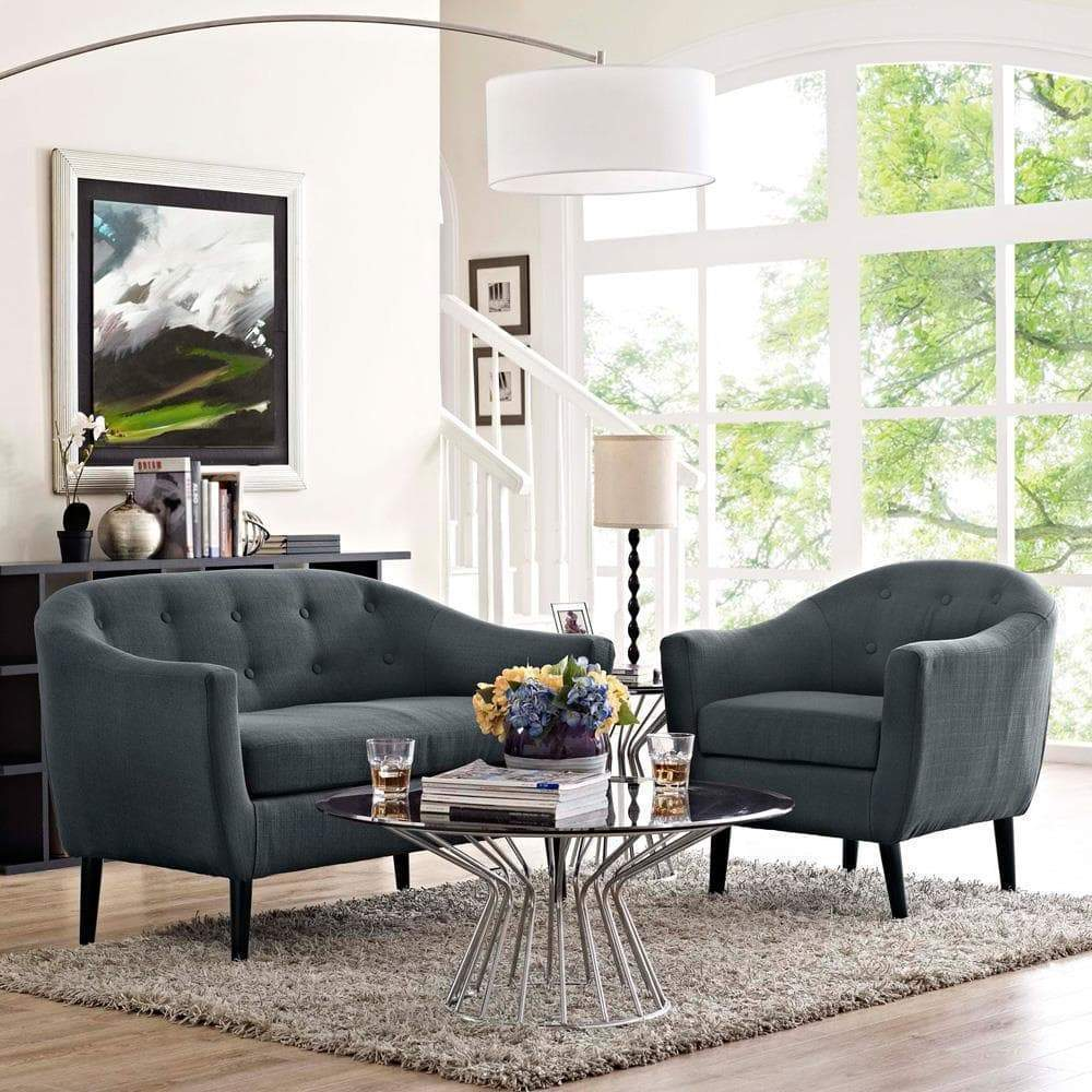 Modway Wit 2 Piece Living Room Set - Gray