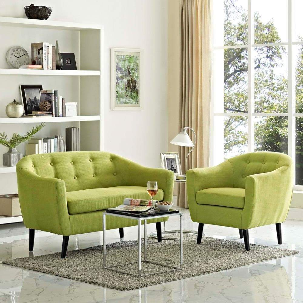 Modway Wit 2 Piece Living Room Set - Wheat