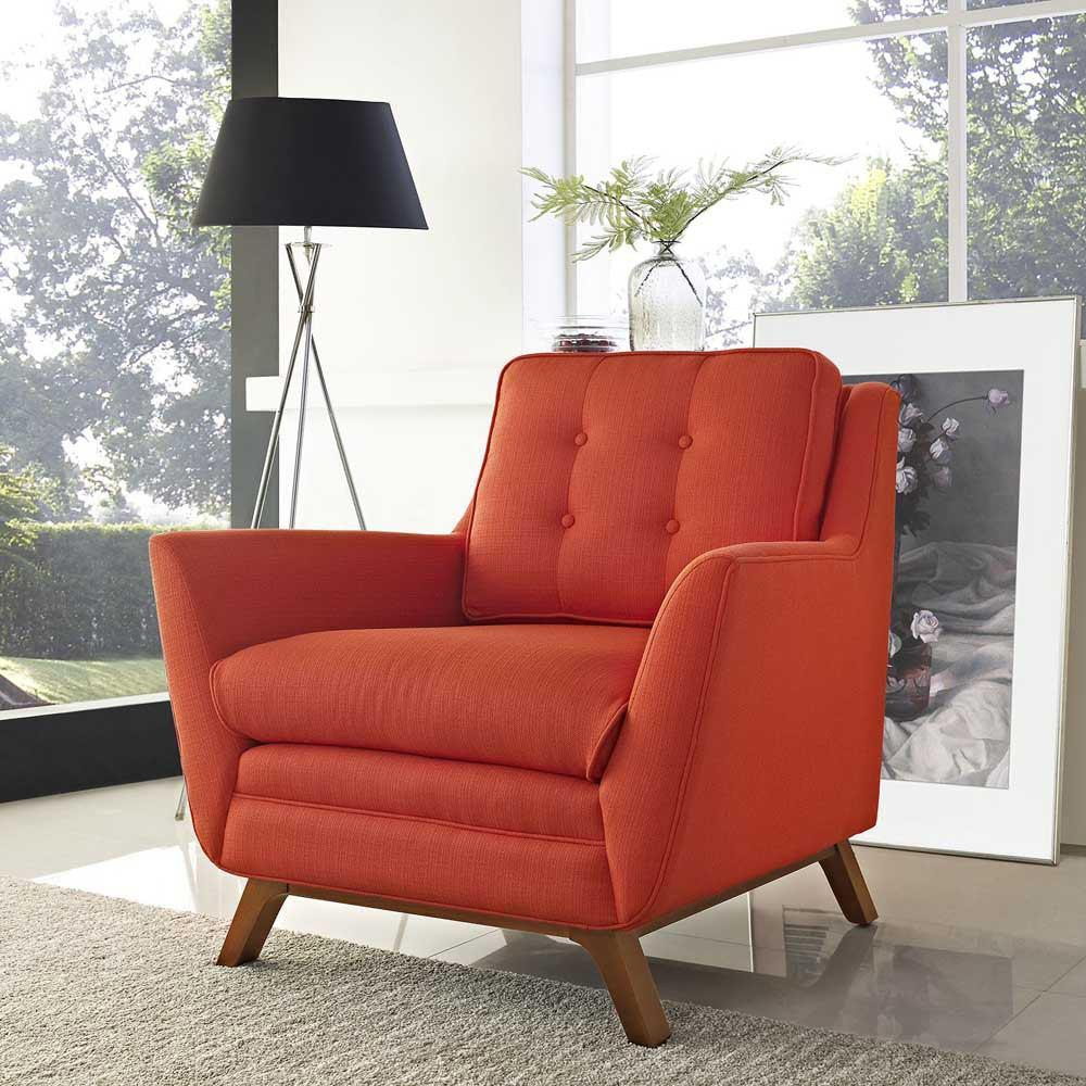 Modway Beguile Upholstered Fabric Armchair - Atomic Red