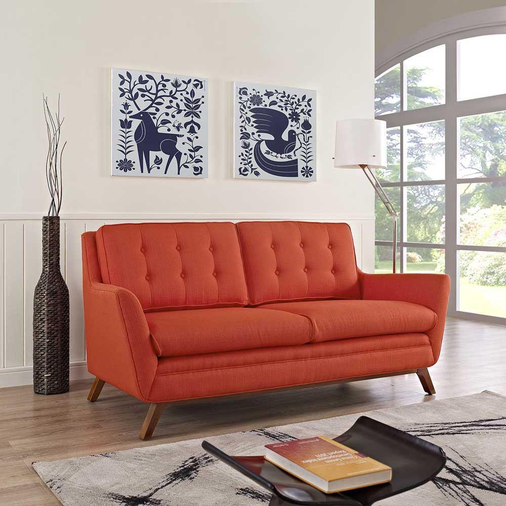 Modway Beguile Upholstered Fabric Loveseat - Atomic Red