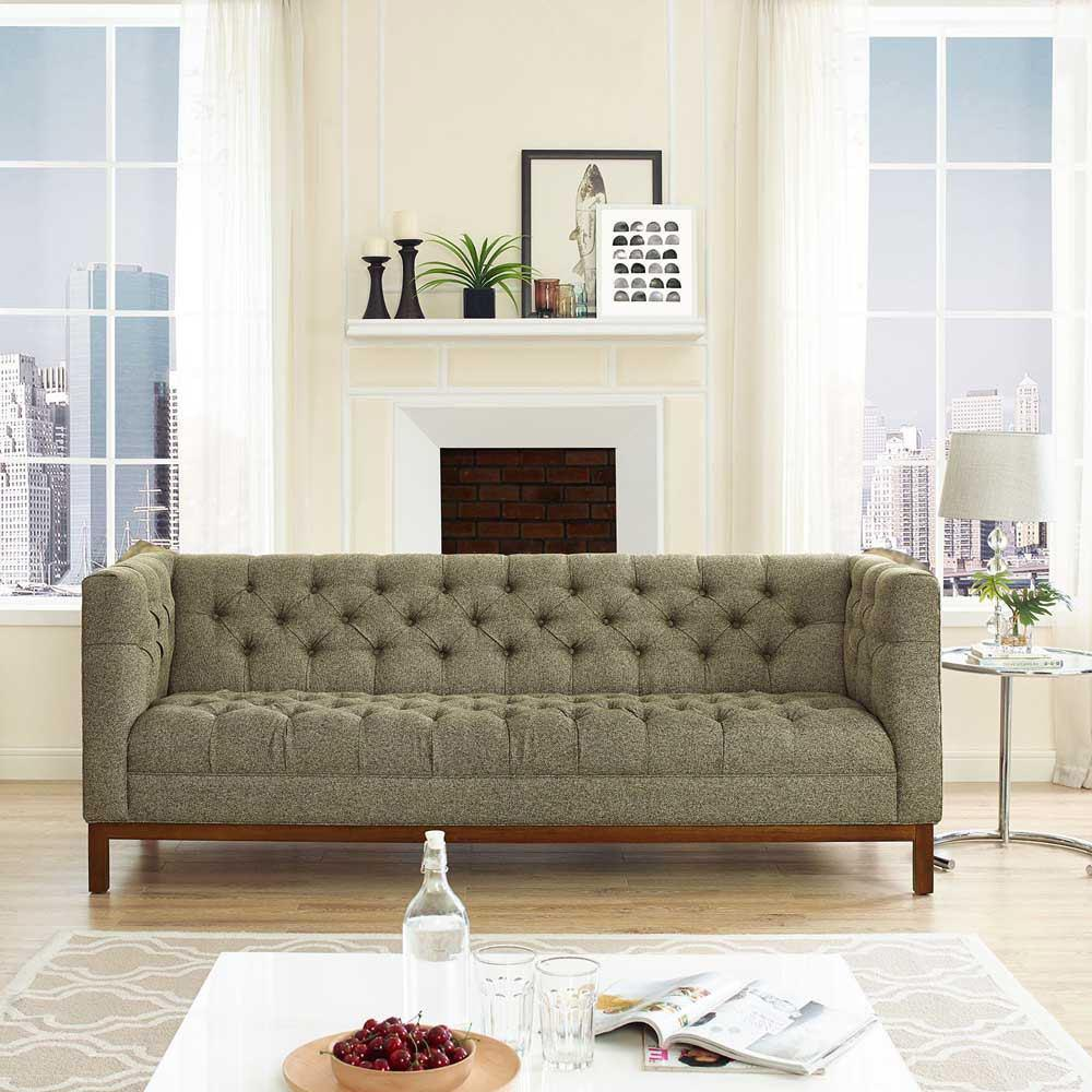 Modway Panache Upholstered Fabric Sofa - Oatmeal